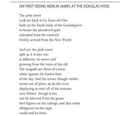 On First Seeing Merlin James at the Douglas Hyde