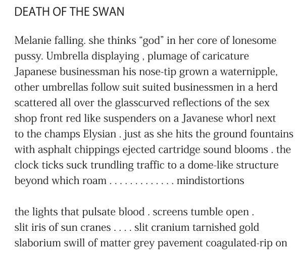 Death of The Swan (excerpt) by Patrick Stack