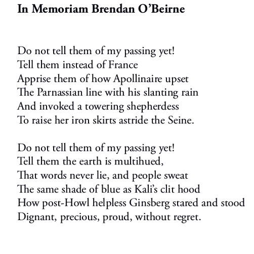 In Memoriam Brendan O'Beirne (first two stanzas) by Patrick Stack
