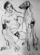 Woman with Dog 190x110 charcoal on paper ©2012