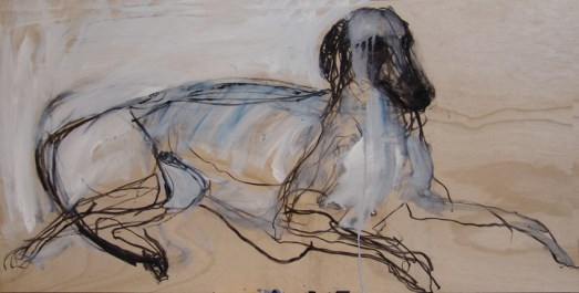 Domestic Dog 120x60cm mixed media on board ©2013