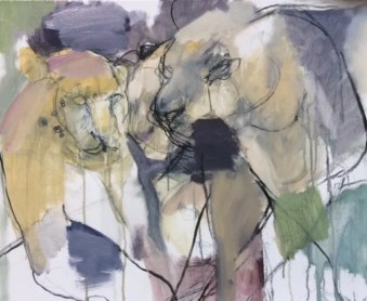 Two Panthers Mixed media ©2016