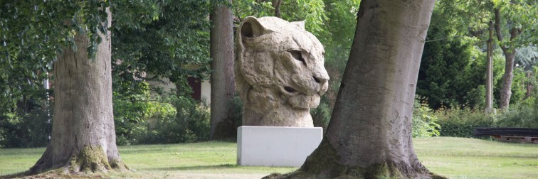 Monumental Head of a Panther at CAC Matmut 205 x 200 x 180 cm