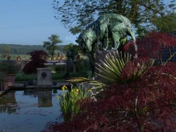 Leopard Fontaine in a private garden - original in mixed media ©2015