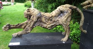Panther licking its Paw at garden exhibition Latem Gallery ©2014