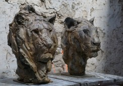 Head of a Lion III 63x45x42cm & Lioness III 55x35x45cm 1/8 bronze