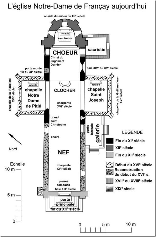 Plan chronologique de l'église Notre-Dame de Françay (41)