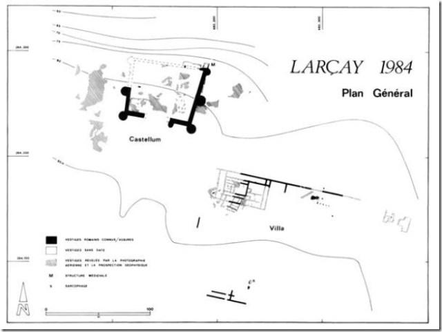 Castellum de Larçay, plan des fouilles archéologiques