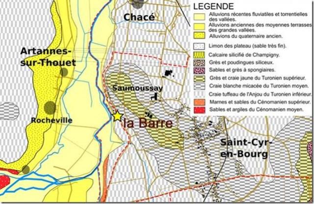 Détail de la carte géologique de Saint-Cyr-en-Bourg (Maine-et-Loire)