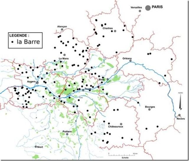 Répartition des toponymes La Barre