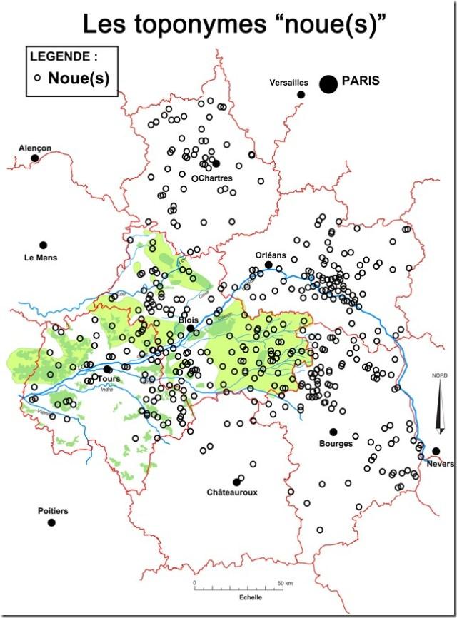 Les toponymes noue et noues en Région Centre