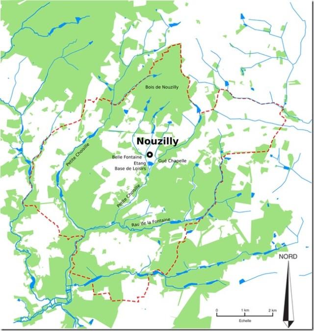 La commune de Nouzilly dans ses limites et son bourg