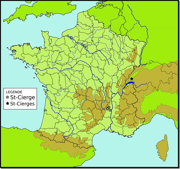 Toponymes Saint-Cierge