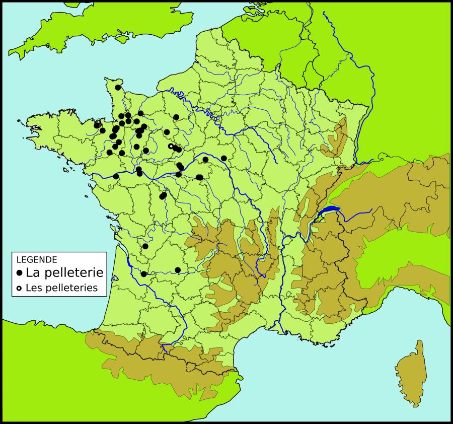 Les toponymes La Pelleterie et les Pelleteries en France
