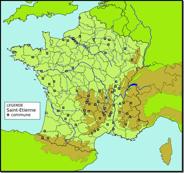 Les communes en France ayant Saint-Etienne dans leur toponyme.
