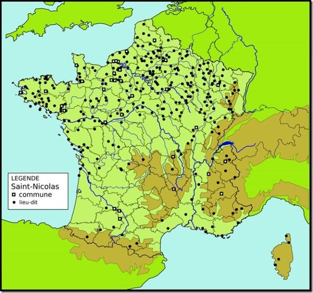 Les toponymes Saint-Nicolas en France