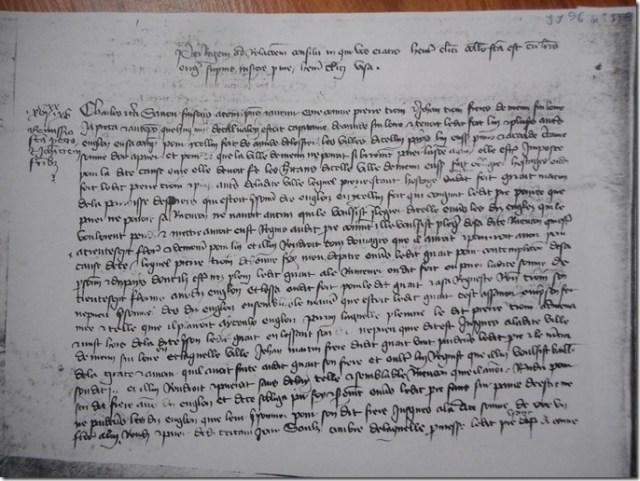 Photocopie : Archives Nationales : Trésor des chartes, JJ 96, folio 114 verso,