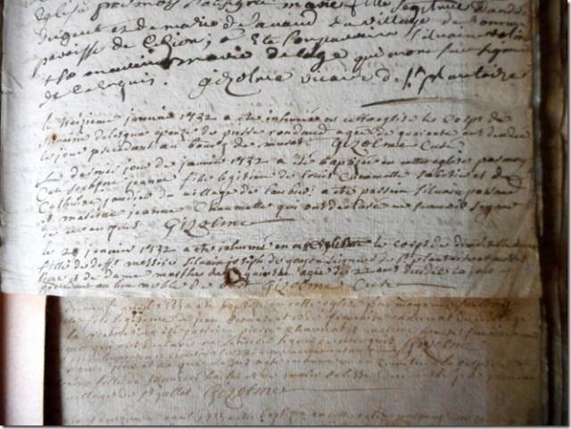 Extrait des registres paroissiaux ecclésiastiques de Saint-Plantaire (Indre)