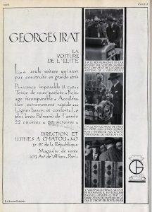 Georges-Irat-pub-vogue-216x300 Georges Irat, voiture de l'élite Divers Georges Irat Voitures françaises avant-guerre