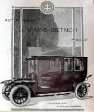 Lorraine-Dietrich Limousine 16 hp - Pub papier de 1912