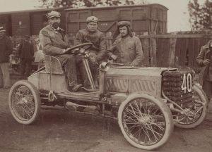Marius Barbarou sur Clément-Bayard Circuit des Ardennes 1902
