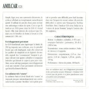 amilcar CGS fiche 2