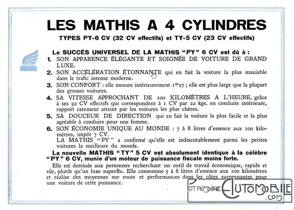 mathis ty 5 cv de 1932