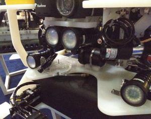 Lentes y sistema de luces para la profundidad de ROV. Stand de Saab. Oceanoloy Internacional. Londres 2014.Foto; JNH