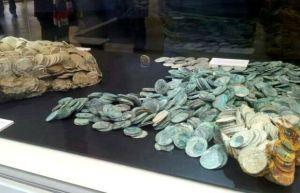 Parte del tesoro recuperado del barco hundido que se encuentran en el museo nacional de arqueologia subacuatica