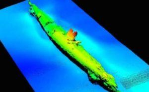 Imagen de sonar del submarino encontrado por Iberdrola