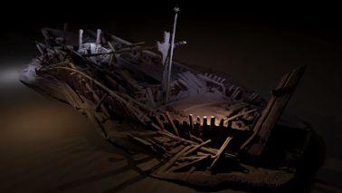 Naufragio otomano Naufragio del Imperio otomano, descubierto a 300 metros de profundidad. Modelo creado por Rodrigo Pacheco-Ruiz