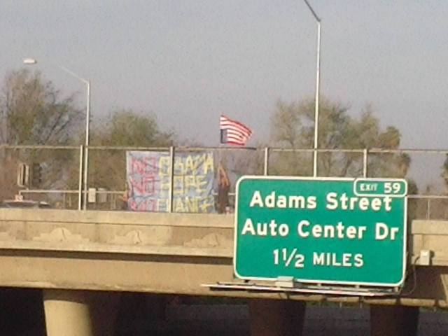 Banner at Adams St and 91 Freeway in Riverside