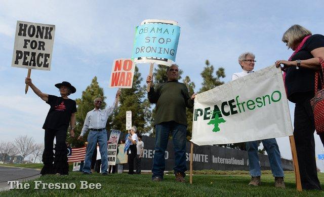 Anti-Obama protesters in Fresno
