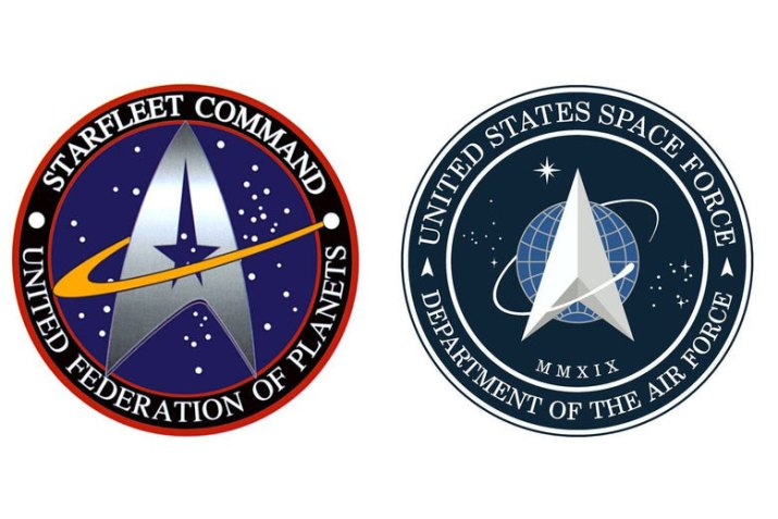 Star Trek logo and the Space Force logo.