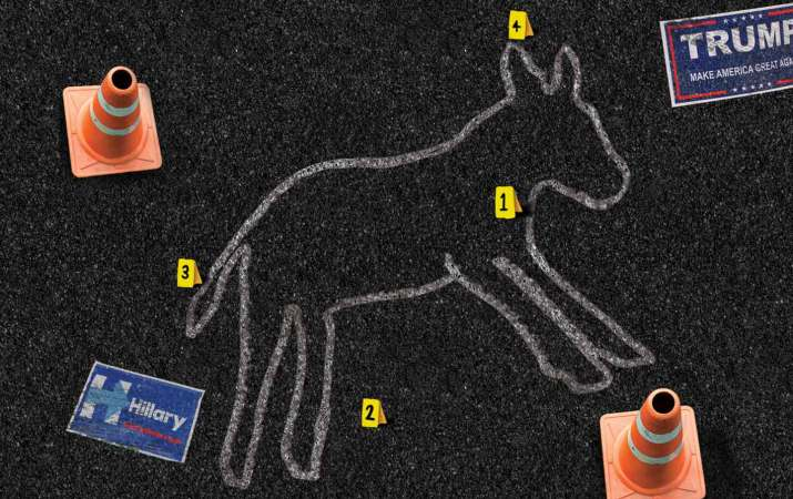 A chalk outline of the Democratic party mascot that has died.