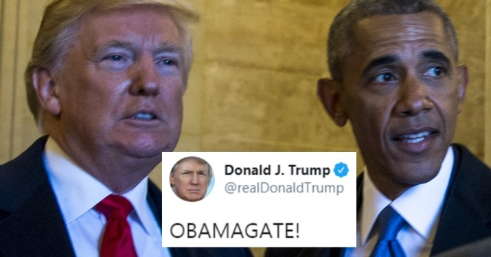 Obama and Trump with OBAMAGATE tweet