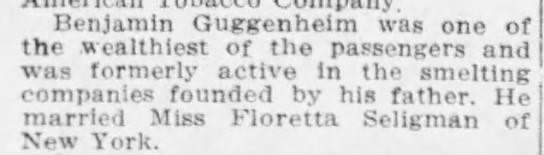 Benjamin Guggenheim's Titanic obituary