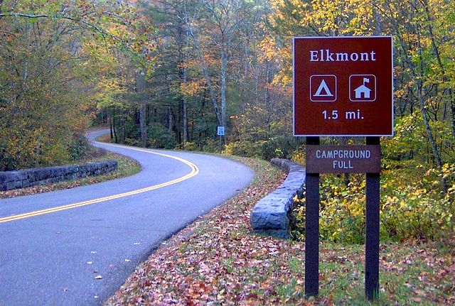 "A sign at Elkmont Campground in the Smoky Mountains reading ""CAMPGROUND FULL"""