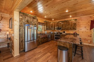 A fully equipped and modern kitchen at Elk Horn Lodge, a Gatlinburg rental cabin