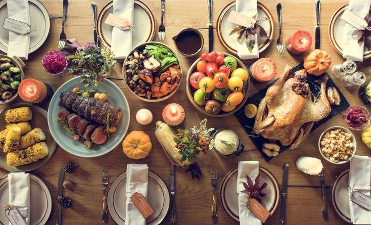 A Thanksgiving Spread on a table