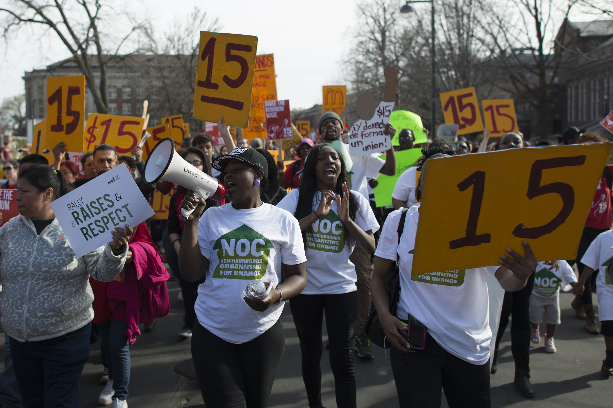 """""""March for a $15/hour minimum wage at the University of Minnesota"""" by Fibonacci Blue is licensed under CC BY 2.0"""