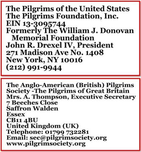 Pilgrims addresses