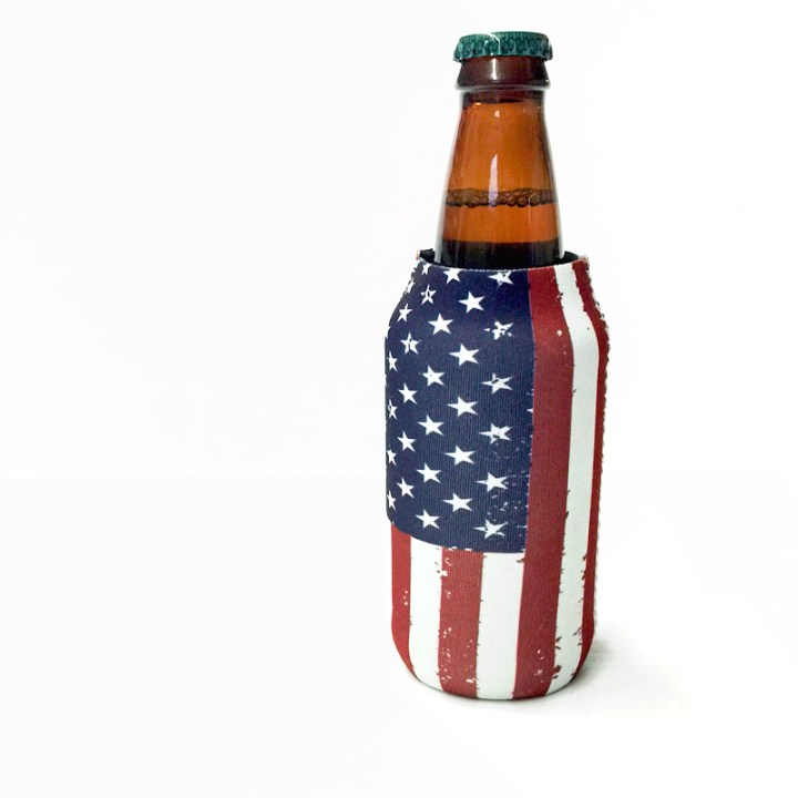 American Flag tall slim Koozie