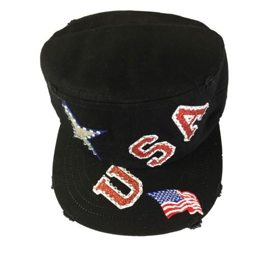 USA Rhinestone Women's Cadet Cap