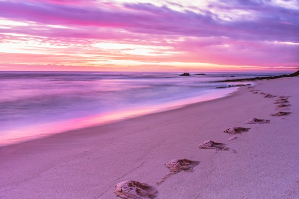 footprints footsteps photograph by professional Patrizia Acco Photographer Beach Colours Summer Landscape Beachscape Seascape Water Sunset Sunrise Oceans Sand