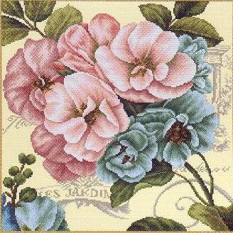 Gráfico de punto de cruz para descargar gratis en pdf y bordar flores rosas y azules
