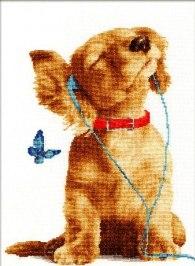Gráfico de punto de cruz para descargar gratis en pdf y bordar perro escuchando música