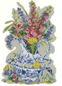 Gráfico de punto de cruz GRATIS al comprar la tela y los hilos para su bordado. Dibujo de jarrón con flores.