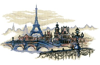 Gráfico de punto de cruz para descargar GRATIS en PDF, imprimir y bordar paisaje de París