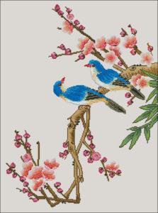Gráfico de punto de cruz para descargar GRATIS en PDF, imprimir y bordar pájaros azules sobre ramas floridas